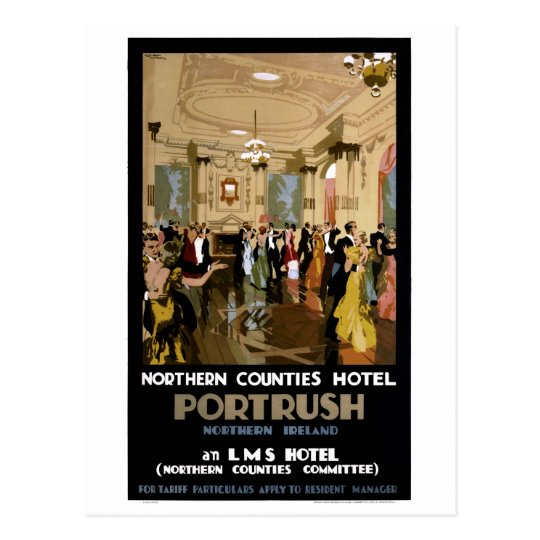 Northern Ireland Portrush Vintage Travel Poster Postcard