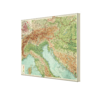 Northern Italy, Austria, &c Stretched Canvas Print