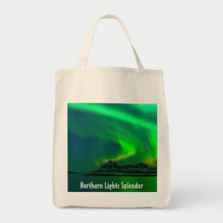 Northern Lighs Splendour - Organic Grocery Tote Grocery Tote Bag
