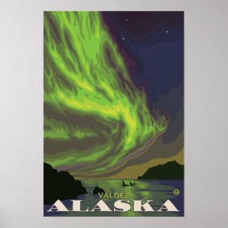 Northern Lights and Orcas - Valdez, Alaska Poster