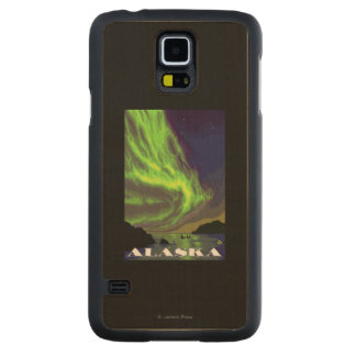 Northern Lights and Orcas Vintage Travel Maple Galaxy S5 Slim Case