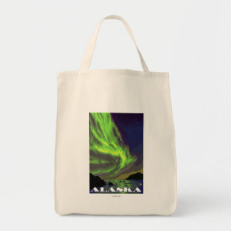 Northern Lights and Orcas Vintage Travel Grocery Tote Bag