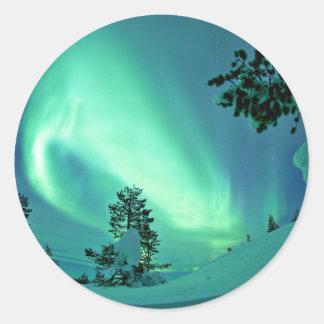 Northern Lights at Winter Classic Round Sticker