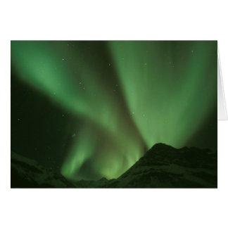 Northern lights, Aurora borealis on foothills of Greeting Card