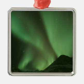 Northern lights, Aurora borealis on foothills of Silver-Colored Square Decoration