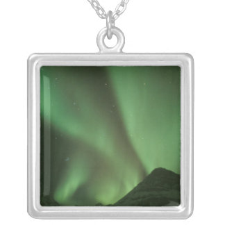 Northern lights, Aurora borealis on foothills of Silver Plated Necklace