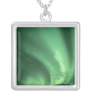 Northern lights, Aurora borealis, over foothills Silver Plated Necklace