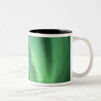 Northern lights, Aurora borealis, over foothills Two-Tone Coffee Mug