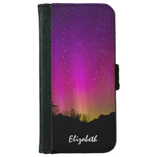 Northern Lights Aurora Borealis Starry Night Sky iPhone 6 Wallet Case