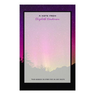 Northern Lights Aurora Borealis Starry Night Sky Personalized Stationery