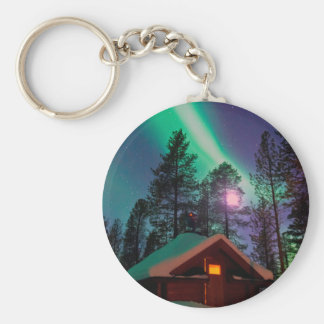 Northern Lights Basic Round Button Key Ring