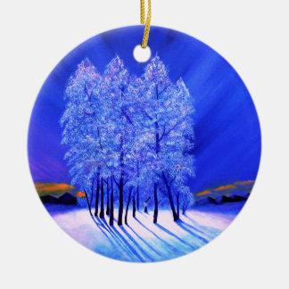 Northern Lights Christmas Snow Trees Christmas Ornament