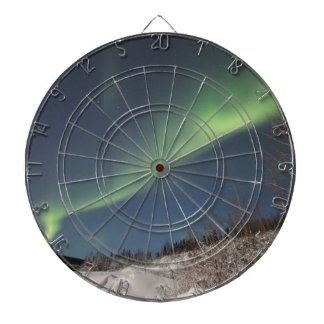 Northern lights dartboard with darts