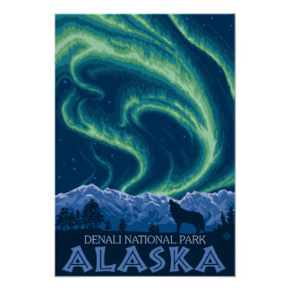 Northern Lights - Denali National Park, Alaska Poster