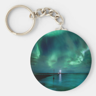 Northern Lights Iceland Basic Round Button Key Ring