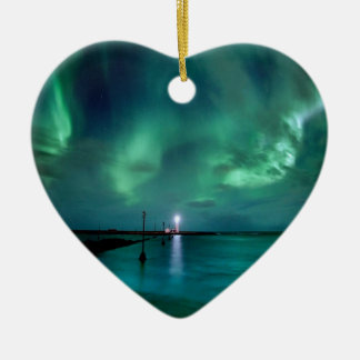 Northern Lights Iceland Ceramic Heart Decoration