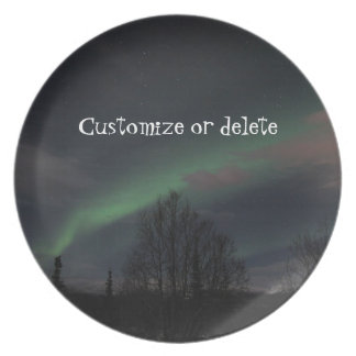 Northern Lights in Boreal Forest; Customizable Dinner Plate
