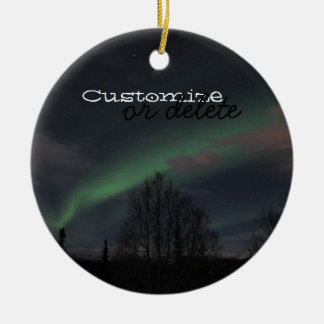 Northern Lights in Boreal Forest; Customizable Round Ceramic Decoration
