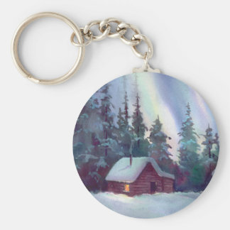 NORTHERN LIGHTS & LOG CABIN BASIC ROUND BUTTON KEY RING