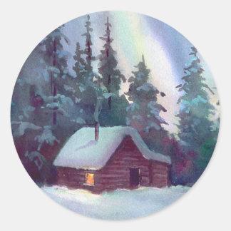 NORTHERN LIGHTS & LOG CABIN by SHARON SHARPE Round Sticker