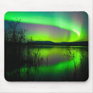 Northern lights mirrored on lake mouse mat