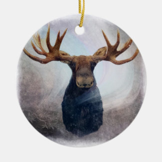 Northern Lights Moose Christmas Ornament