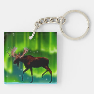 Northern Lights Moose Double-Sided Square Acrylic Key Ring