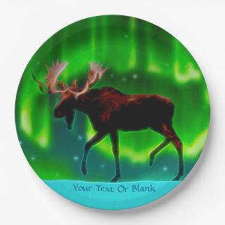 Northern Lights Moose Paper Plate