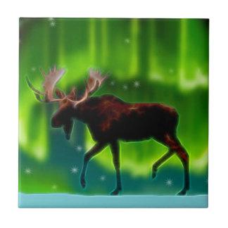 Northern Lights Moose Tile