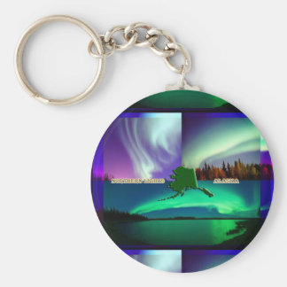Northern Lights of Alaska Collage Key Ring