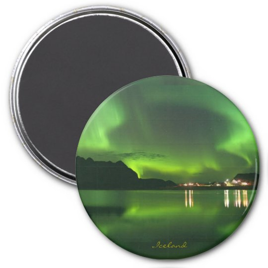 Northern Lights Over Iceland, 3 Inch Round Magnet