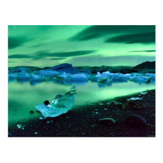 Northern Lights over Jokulsarlon lake, Iceland Postcard
