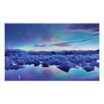 Northern Lights over Jokulsarlon lake, Iceland Poster