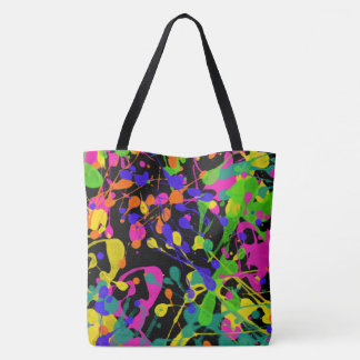 Northern Lights Paint Splatters Tote Bag