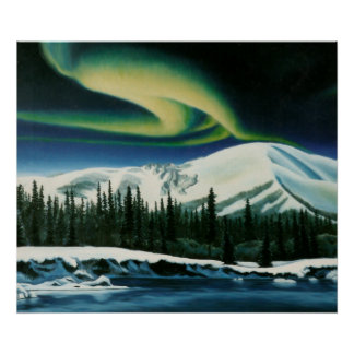 Northern Lights Painting Yukon Landscape Poster