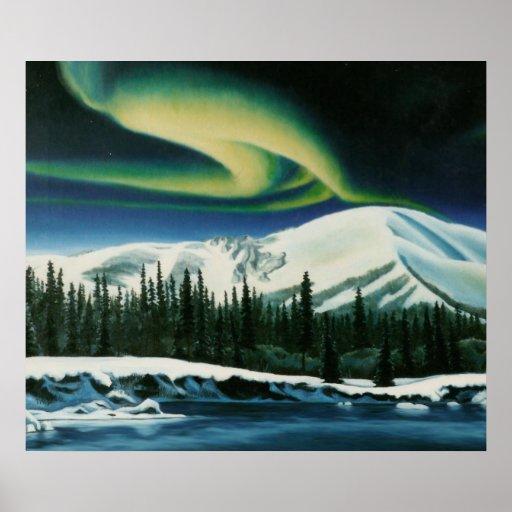 Northern Lights Painting Yukon Landscape Poster