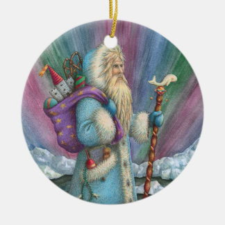 Northern Lights SANTA CHRISTMAS CERAMIC ORNAMENT