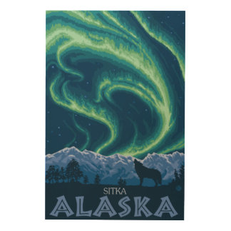 Northern Lights - Sitka, Alaska Wood Print