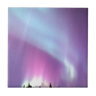 Northern Lights Sky Winter Alaska Stars Tile
