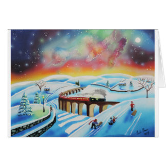Northern lights train landscape painting card