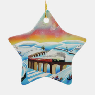 Northern lights train landscape painting christmas ornament