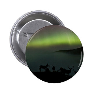 Northern Lights with Stags Button Badge