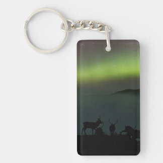 Northern Lights with Stags Keychain/Keyring Key Ring