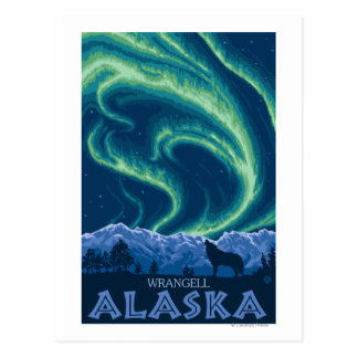 Northern Lights - Wrangell, Alaska Postcard