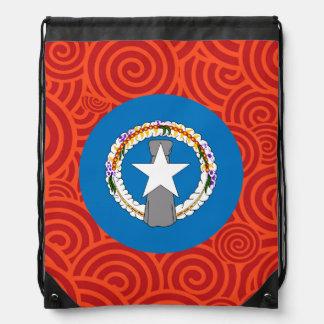 Northern Mariana Islands round flag Drawstring Backpacks