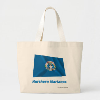 Northern Mariana Islands Waving Flag with Name Large Tote Bag