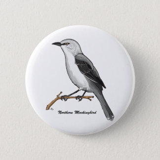 NORTHERN MOCKINGBIRD 6 CM ROUND BADGE
