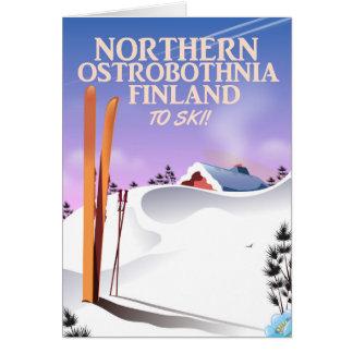 Northern Ostrobothnia Finland ski poster Card