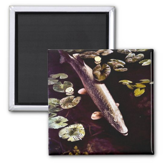 Northern Pike Square Magnet