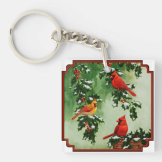 Northern Red Cardinals and Holly Key Ring